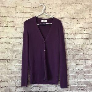 Prada 46 Women's Cashmere V Neck Purple Cardigan